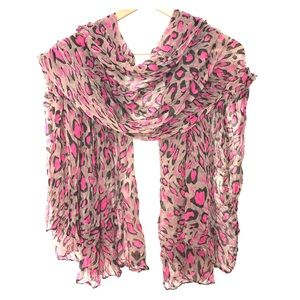 Accessories - Animal Print Pink and Brown Scarf
